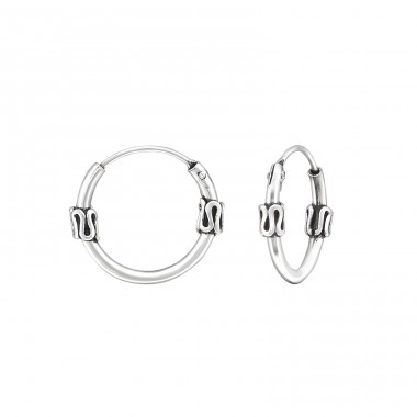 12mm - 925 Sterling Silver Bali Silver Hoops A4S31558