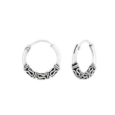 12mm - 925 Sterling Silver Bali Silver Hoops A4S32391