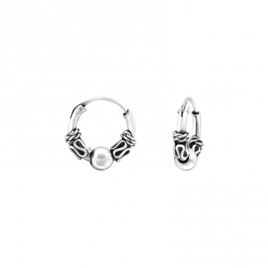 10mm - 925 Sterling Silver Bali Silver Hoops A4S32392