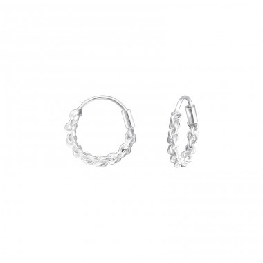 12mm - 925 Sterling Silver Bali Silver Hoops A4S34021