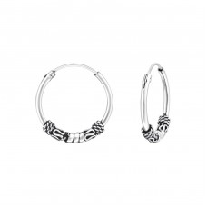 16mm - 925 Sterling Silver Bali Silver Hoops A4S34541