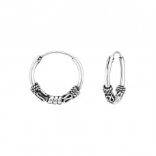 14mm - 925 Sterling Silver Bali Silver Hoops A4S34551