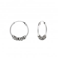 Bali 14 mm - 925 Sterling Silver Ear Hoops A4S34999
