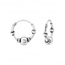 15mm - 925 Sterling Silver Bali Silver Hoops A4S35093