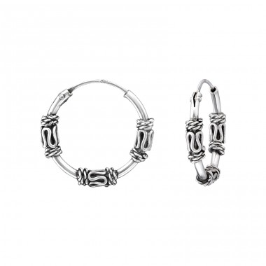 16mm - 925 Sterling Silver Bali Silver Hoops A4S35290