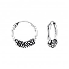 12mm - 925 Sterling Silver Bali Silver Hoops A4S35291