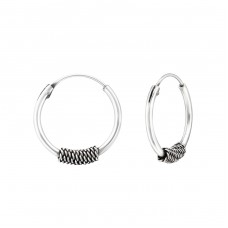 16mm - 925 Sterling Silver Bali Silver Hoops A4S35613