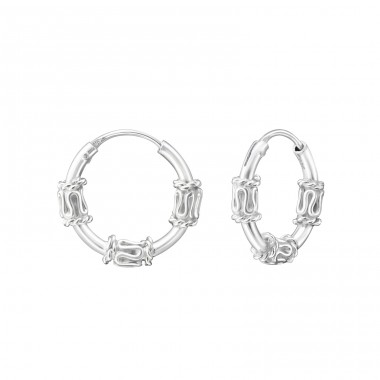 12mm - 925 Sterling Silver Bali Silver Hoops A4S35653