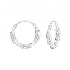 14mm - 925 Sterling Silver Bali Silver Hoops A4S35654