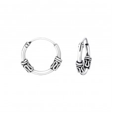 12mm - 925 Sterling Silver Bali Hoops A4S36121