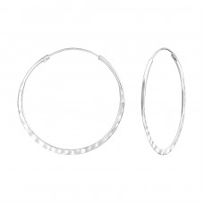 Hammered 32mm - 925 Sterling Silver Bali Hoops A4S36539