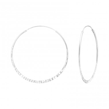 Hammered 42mm - 925 Sterling Silver Bali Hoops A4S36540