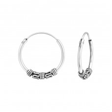 16 mm - 925 Sterling Silver Bali Silver Hoops A4S37086