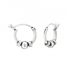 12mm - 925 Sterling Silver Bali Silver Hoops A4S37298