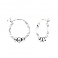 16mm - 925 Sterling Silver Bali Silver Hoops A4S37299