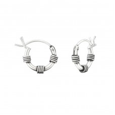 10mm - 925 Sterling Silver Bali Silver Hoops A4S37300