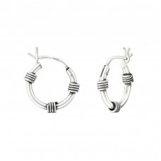 12mm - 925 Sterling Silver Bali Silver Hoops A4S37301