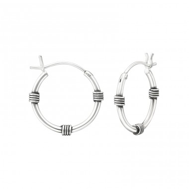 16mm - 925 Sterling Silver Bali Silver Hoops A4S37302