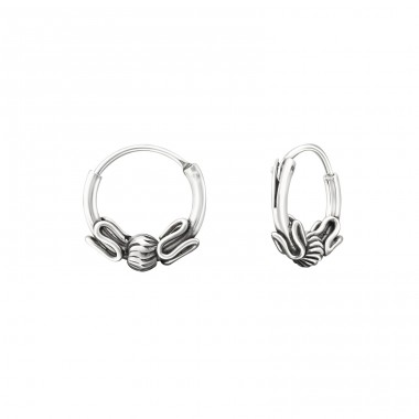 10mm - 925 Sterling Silver Bali Silver Hoops A4S37305