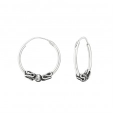 16mm - 925 Sterling Silver Bali Silver Hoops A4S37307