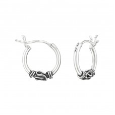 12mm - 925 Sterling Silver Bali Silver Hoops A4S37308