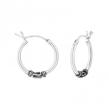16mm - 925 Sterling Silver Bali Silver Hoops A4S37309