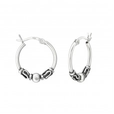 17mm - 925 Sterling Silver Bali Silver Hoops A4S37310