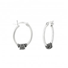15mm - 925 Sterling Silver Bali Silver Hoops A4S37311