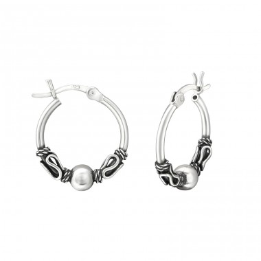 16mm - 925 Sterling Silver Bali Silver Hoops A4S37313