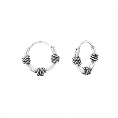 10mm - 925 Sterling Silver Bali Silver Hoops A4S37314