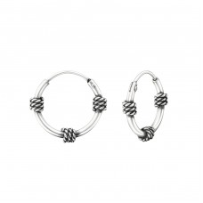 12mm - 925 Sterling Silver Bali Silver Hoops A4S37315