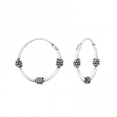16mm - 925 Sterling Silver Bali Silver Hoops A4S37316