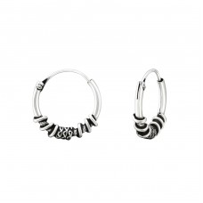 12mm - 925 Sterling Silver Bali Silver Hoops A4S37360