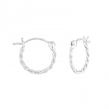 15mm - 925 Sterling Silver Bali Silver Hoops A4S37362