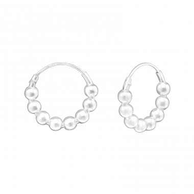 14mm - 925 Sterling Silver Bali Silver Hoops A4S37954