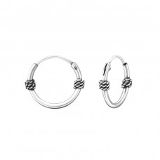 12mm - 925 Sterling Silver Bali Silver Hoops A4S38037