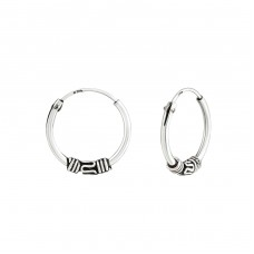 14mm - 925 Sterling Silver Bali Silver Hoops A4S38215