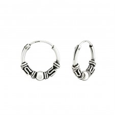 12mm - 925 Sterling Silver Bali Silver Hoops A4S38216