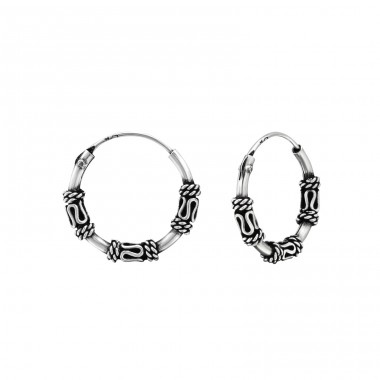 14mm - 925 Sterling Silver Bali Silver Hoops A4S38217