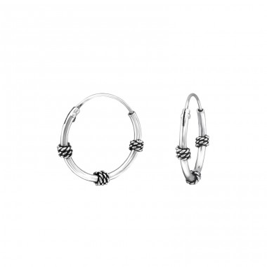 14mm - 925 Sterling Silver Bali Silver Hoops A4S38219