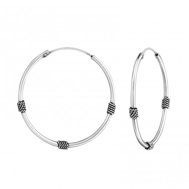 30mm - 925 Sterling Silver Bali Silver Hoops A4S38220