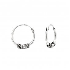14mm - 925 Sterling Silver Bali Silver Hoops A4S38221
