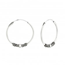 25mm - 925 Sterling Silver Bali Silver Hoops A4S38222