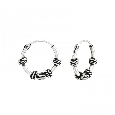 12mm - 925 Sterling Silver Bali Silver Hoops A4S38223