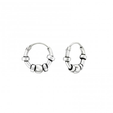 10mm - 925 Sterling Silver Bali Silver Hoops A4S38586