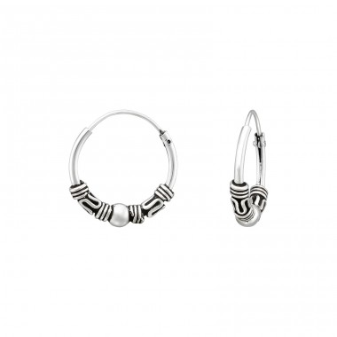 14mm Bali earrings - 925 Sterling Silver Bali Silver Hoops A4S39697