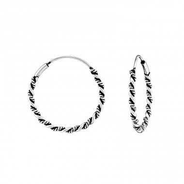 22mm - 925 Sterling Silver Bali Silver Hoops A4S39776