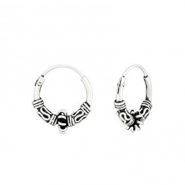 12mm - 925 Sterling Silver Bali Silver Hoops A4S39909