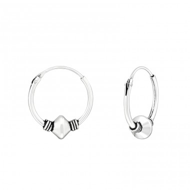 14mm - 925 Sterling Silver Bali Silver Hoops A4S39911