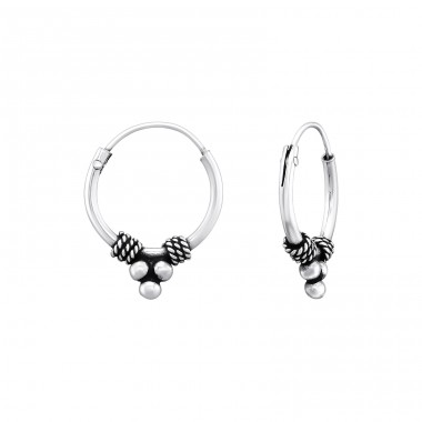 12mm - 925 Sterling Silver Bali Silver Hoops A4S39971
